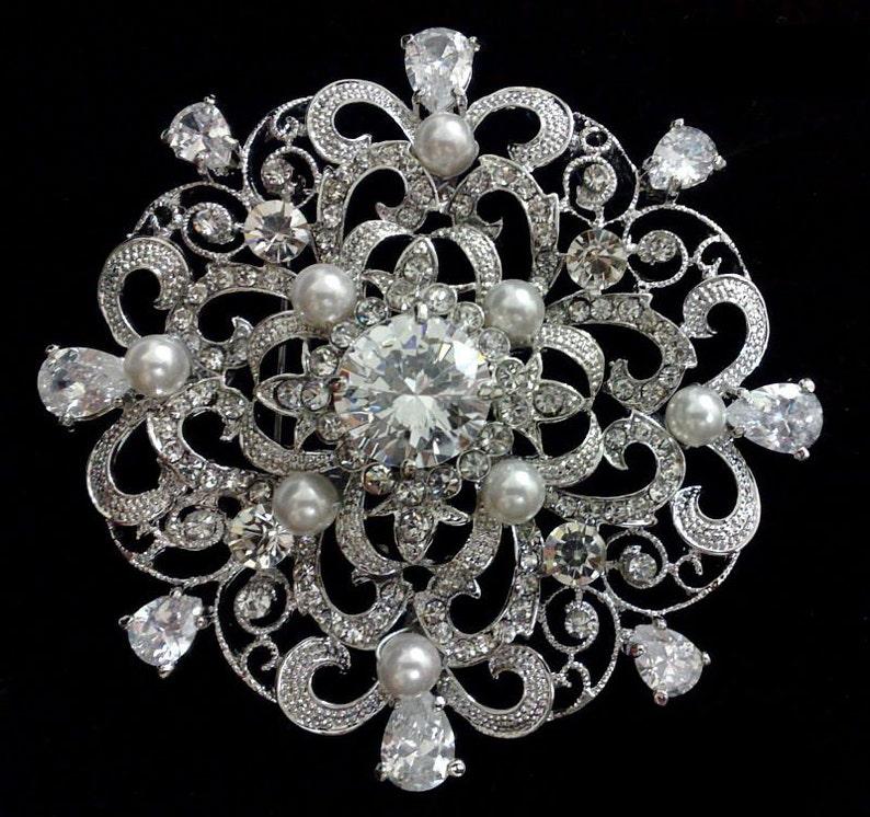 934fd65e349e Crystal Pearl Bridal Broach Swarovski Bridal Jewelry Silver
