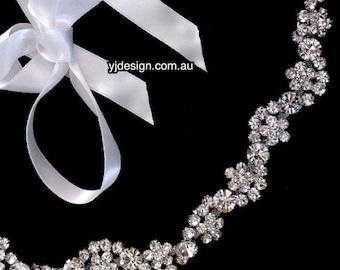 Gatsby Wedding Headband, Flower Bridal Tiara, Rhinestone Crystal Crown, Bohemian Hair Jewelry, Hippie Bridal Halo, Wreath Headpiece, ROXANNA