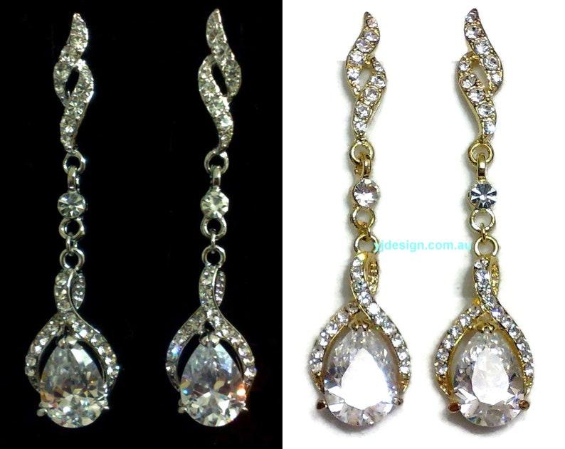 0945a1fae Teardrop Bridal Earrings Infinity Wedding Earrings Long | Etsy