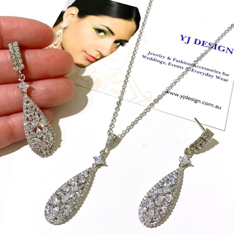TAMARA Art Deco Bridal Necklace Gatsby Bridal Earrings Pear Drop Wedding Earrings Geometric Bridal Jewelry Set Cz Wedding Jewelry
