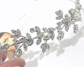 Floral Leaves Crown, Vines Bridal Tiara, Wedding Wreath, Cz Bridal Headband, Bridal Halo, Silver or Gold Wedding Headpiece, Hair Tiara, GAIA