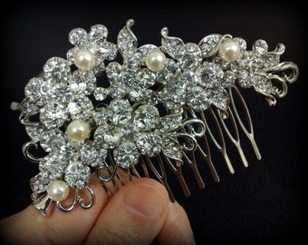 Bridal Hair Comb, Vines Wedding Hair Comb, Swarovski Crystal Wedding Headpiece, Pearl Bridal Hair Jewelry, Silver Bridal Headpiece, BLOSSOM