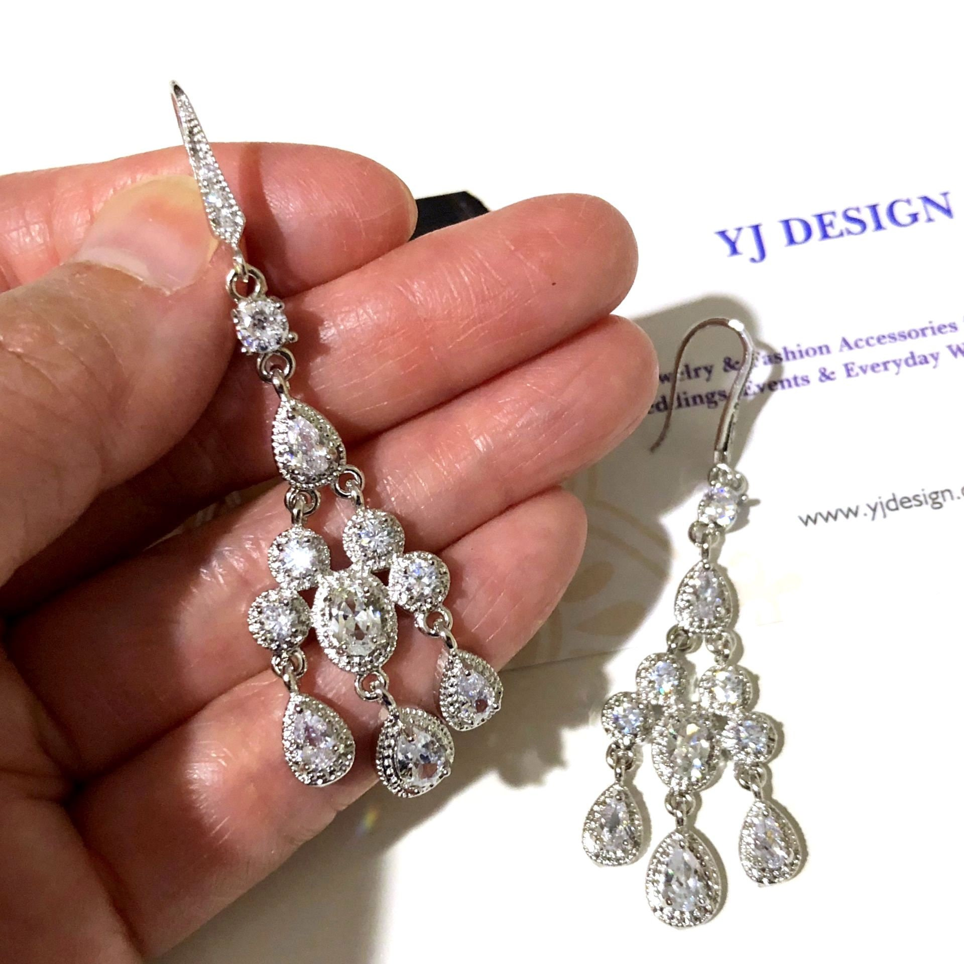 Art Deco Bridal Earrings Victorian Wedding Chandelier