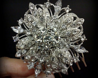 Wedding Hair Comb, Crystal Bridal Headpiece, Starburst Bridal Hair Jewelry, Flower Bridal Hair Comb, Wedding Headpiece, Gift for Her, GALAXY