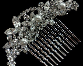 Bridal Hair Jewelry, Pearl Hair Comb, Crystal Bridal Comb, Vines Bridal Headpiece, Wedding Headpiece, Wedding Hair Comb, Gift for Her, CLEO
