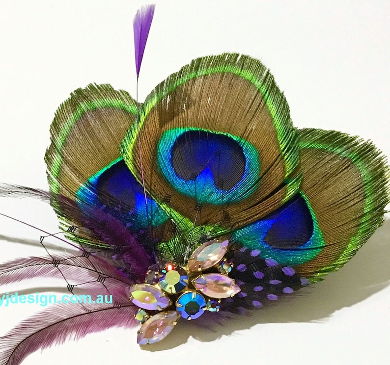 Something Blue Bridal Hair Clip Upcycled Vintage Hair Jewelry Purple Wedding Fascinator Boho Feather Hair Clip Peacock Bridal Headpiece