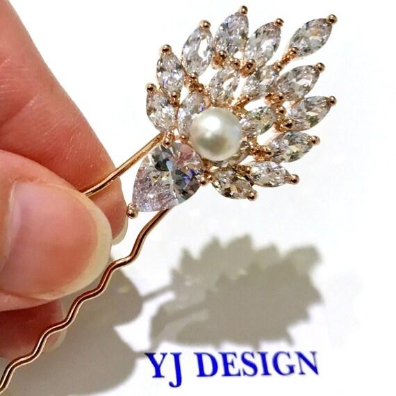 Bridal Cubic Zirconia Hair Pin Wedding CZ Hair Pin Wedding Hair Pin Bridal Hair Piece