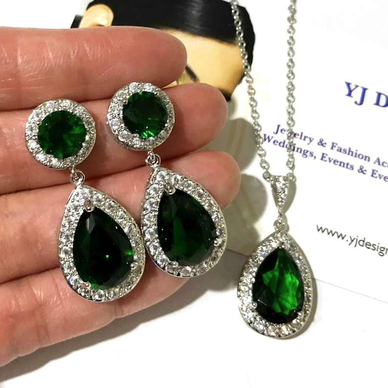 5db1e164a6ca7 Emerald Green Bridal Jewelry Set, Teardrop Cz Wedding Earrings, Pear Drop  Bridal Necklace, Cubic Zirconia Bridesmaid Jewelry Gift, SANSA