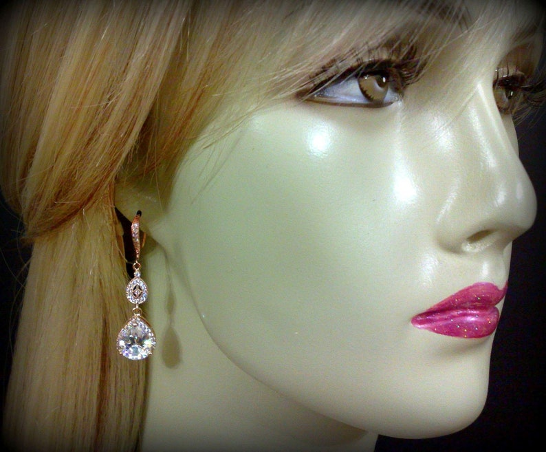 CHICA Rose Gold Bridal Jewelry Set Pear Shape Cubic Zirconia Dangle Jewelry Teardrop Earrings and Necklace