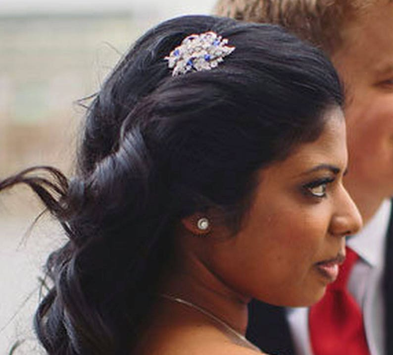 Flower Wedding Headpiece Bridal Hair Jewelry Something Blue Bridal Headpiece Wedding Hair Comb Crystal Bridal Hair Comb BOUQUET