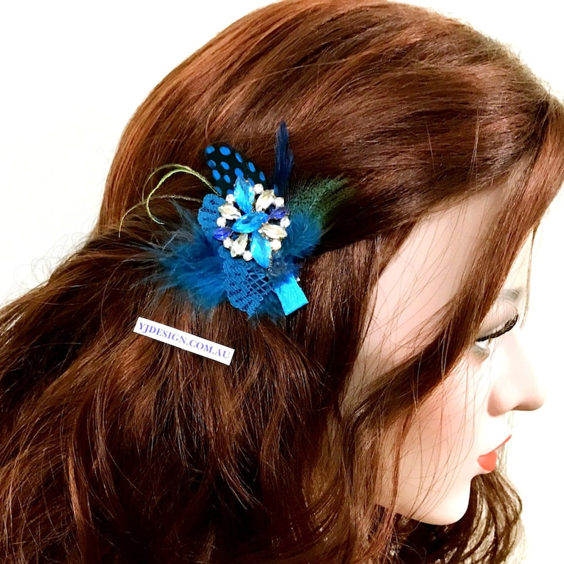 Boho Bridal Fascinator Something Blue Feather Bridal Hair Clip Crystal Pendant Bohemian Brooch Upcycled Vintage Accessory FEATHERTINI