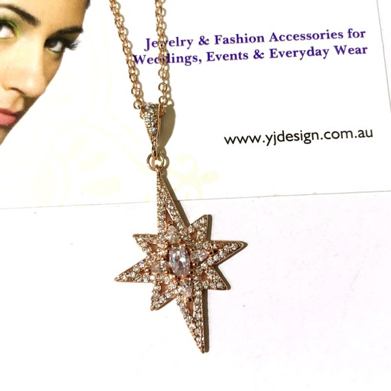 Statement Bridal Necklace Star Wedding Earrings Art Deco Wedding Bridal Jewelry Set Galaxy Wedding Jewelry CELESTIA Cz Dangle Pendant