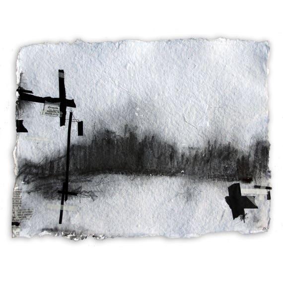 Pilgrimage VI - original landscape drawing and watercolor mix media on watercolor paper
