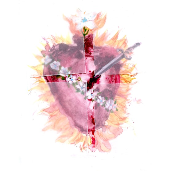 The Immaculate Heart of Mary with prayer- fine art print