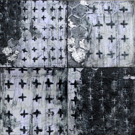 Pray pray pray...  - SET of 4 original abstract encaustic paintings with silver leaf