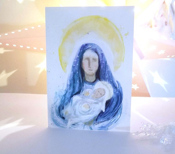 HELD - Blessed Mother and Jesus painting, Note Card set