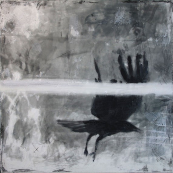 Crow series by Ingrid Blixt - Crow in Flight, original encaustic painting on wood