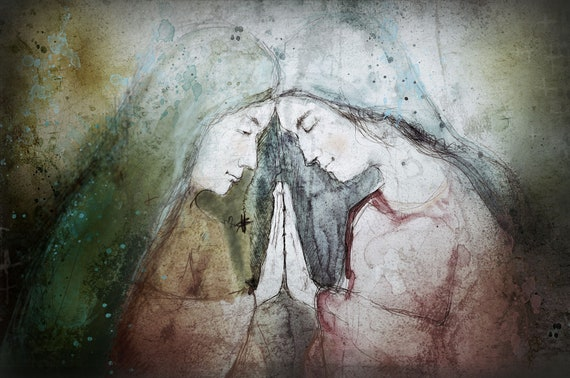 The Visitation - Blessed Mother and Elizabeth, fine art print, Free Shipping