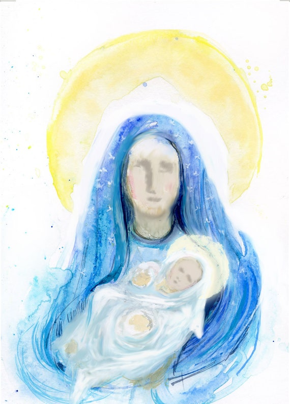 HELD - Blessed Mother and Jesus painting, fine art print