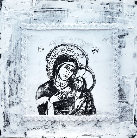 Blessed Mother and Jesus - original artwork