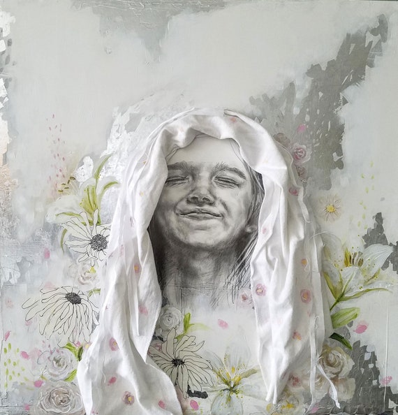 Faith - original mixed media artwork, drawing, painting, silver leaf