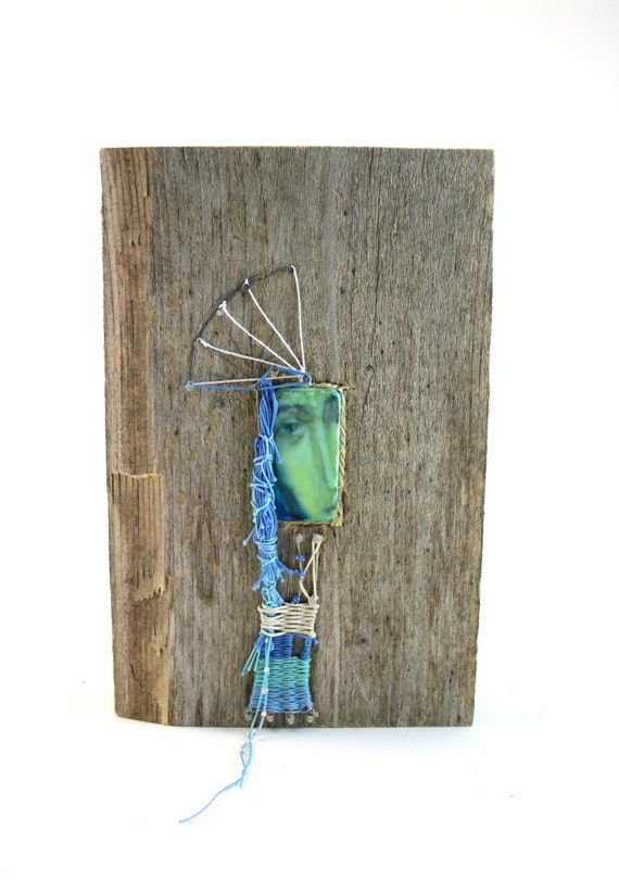 Blue Madonna - mixed media with weaving