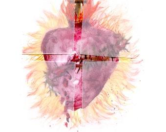 The Sacred Heart of Jesus with prayer- fine art print
