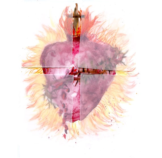 The Sacred Heart of Jesus with prayer- fine art print