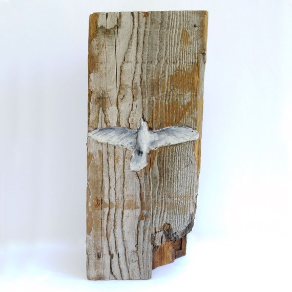 Come Holy Spirit by Ingrid Blixt -  original encaustic mixed media carved in reclaimed barn wood
