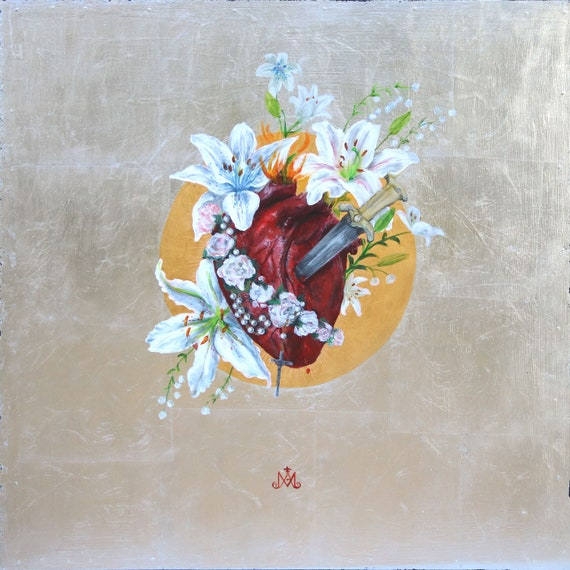 The Immaculate Heart of Mary - original acrylic painting with 23K gold leaf