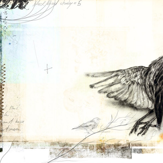 Composition No.5 - giclee print: mixed media and digital illustration on Black Birds