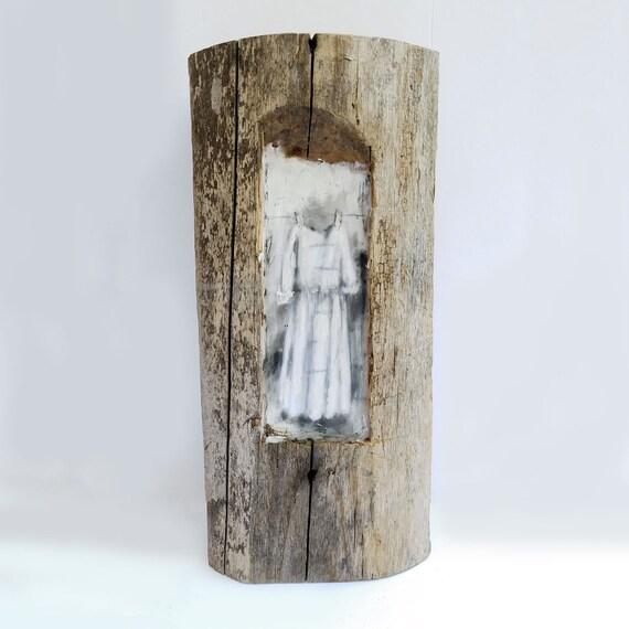 Reminder by Ingrid Blixt -  original encaustic mixed media carved in reclaimed barn wood