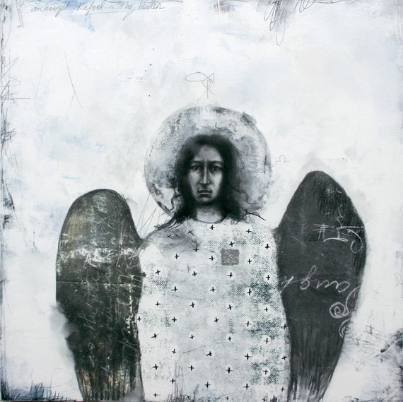 Archangel Raphael - drawing with silver leaf
