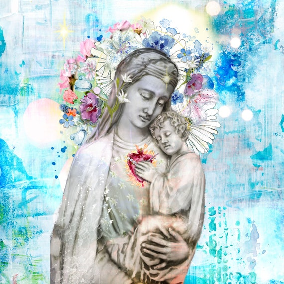 One Heart (Large Format) - Blessed Mother and Jesus painting, fine art print