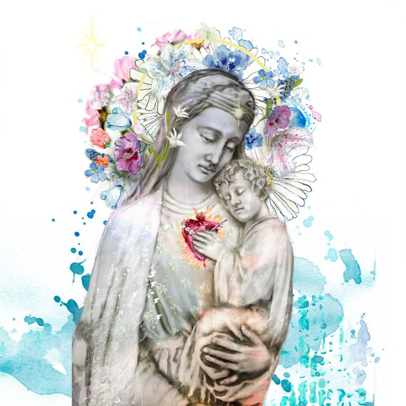 One Heart - Blessed Mother and Jesus painting, fine art print