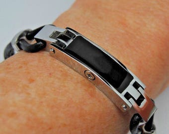 "Black Front 8.5"" Engraveable Stainless Steel Urn Bracelet with Black Leather Strap || Ashes Keepsake || Memorial Gift"