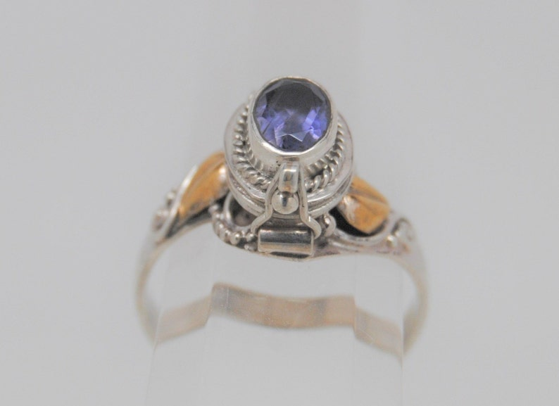 Ashes Keepsake Oval Iolite Two Tone in 925 Sterling Silver Cremation Urn Ring