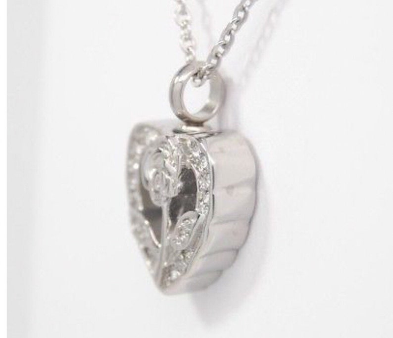 Cremation Urn Necklace CZ Open Rose Heart Looks Like April Birthstone