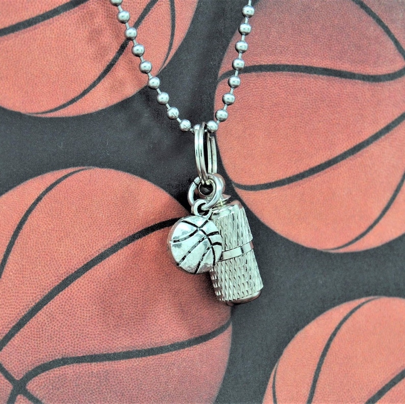 Unisex Style Capsule Urn with Basketball Charm Ashes Jewelry for Basketball Fans
