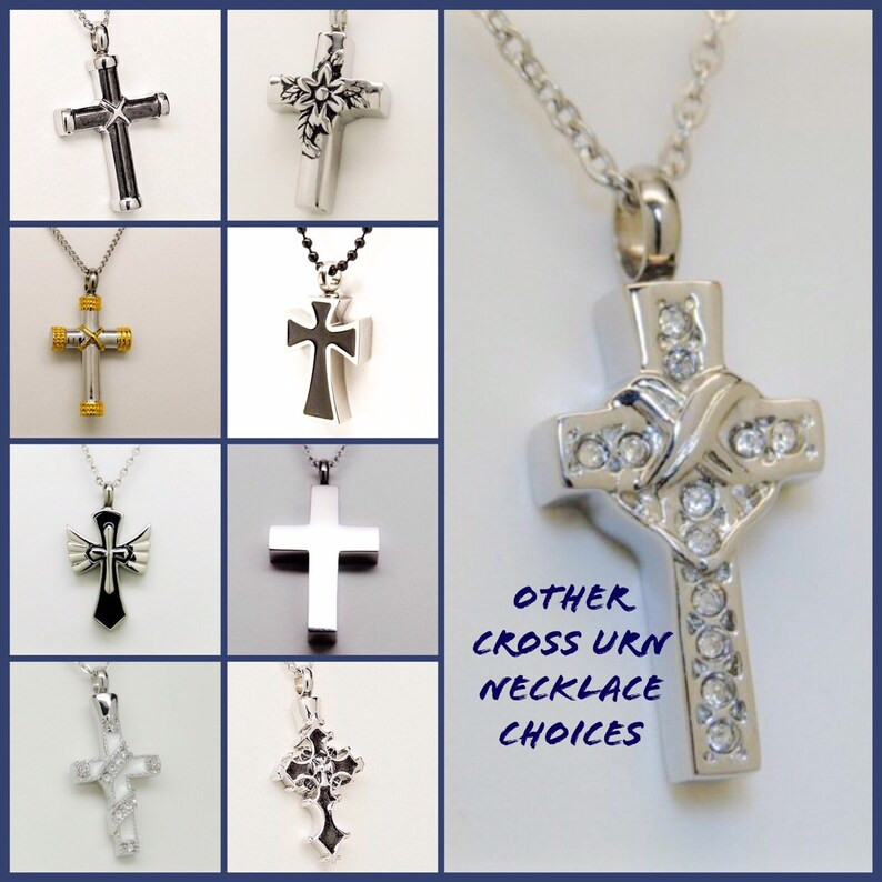 Raised Cross Cremation Urn Necklace Men/'s Memorial Keepsake in Stainless Steel