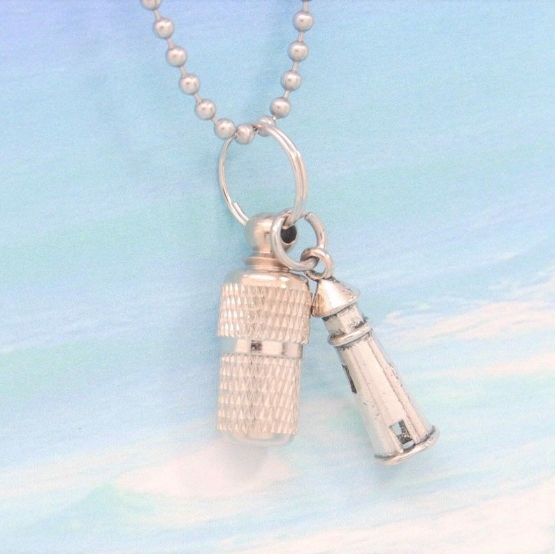 Ashes Jewelry for Lighthouse Lovers Capsule Urn with Lighthouse  Charm