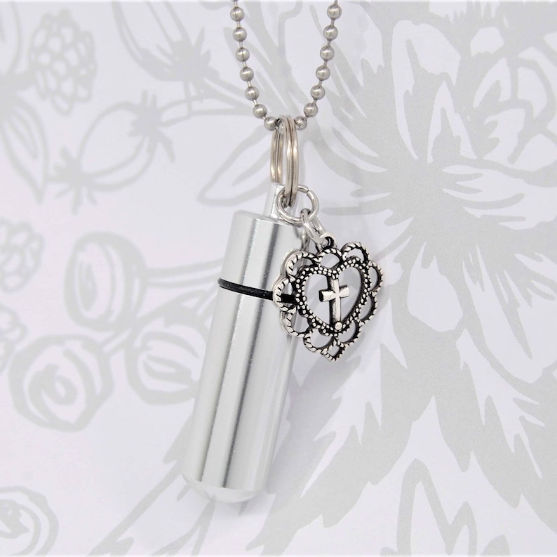 Cylinder Urn with Charm Heart Cross Ashes Holder Necklace Keepsake Jewelry