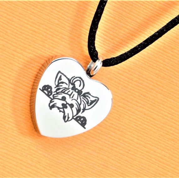 Yorkshire Terrier Ashes Holder Necklace Engravable Yorkie Urn Jewelry