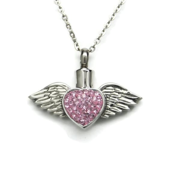Angel Wing Urn Necklace: Pink CZ Heart With Angel Wings Cremation Urn Necklace