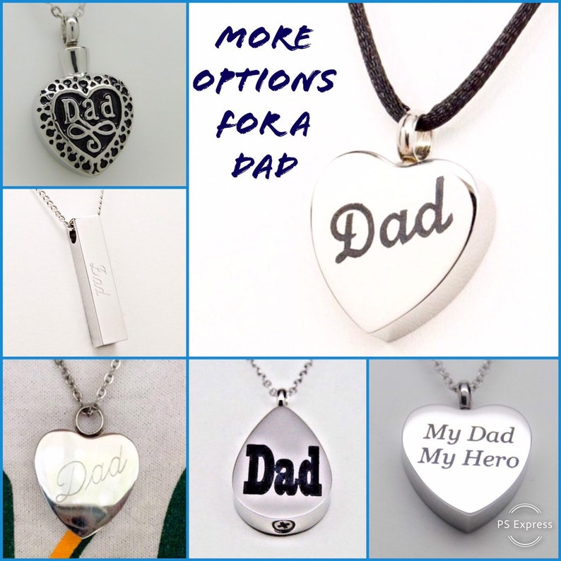 Chain Choice Engraveable Bar Shape in Stainless Steel Daddy Cremation Urn Necklace