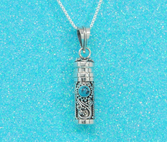 Paua Shell Urn Necklace 925 Sterling Silver Cremation JewelryAshes Keepsake