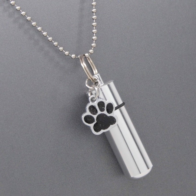 Pet Memorial Keepsake Black Dog or Cat Ashes Holder Necklace Engraveable