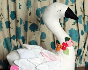 Seraphina Swan Plush Pillow Softie PDF Sewing Pattern