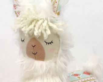 Weiße Lama Alpaka Kissen