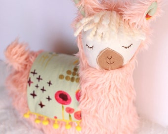 Peach Pink Llama Alpaca Pillow Plush
